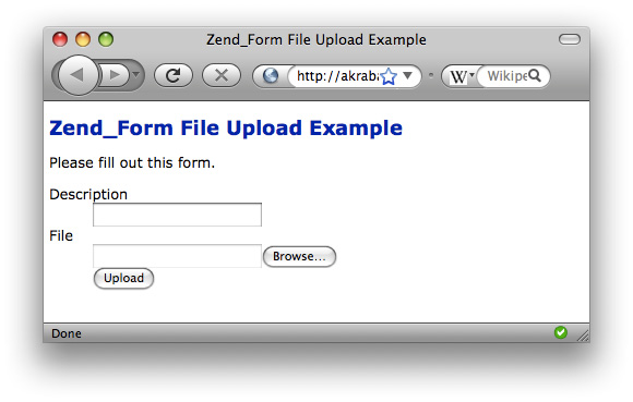Simple Zend_Form File Upload Example – Rob Allen's DevNotes