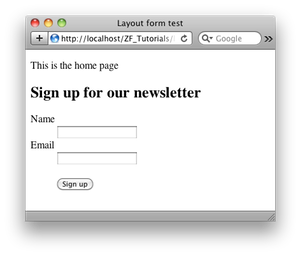 Sign up form in a layout