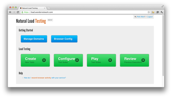 Natural Load Testing home page