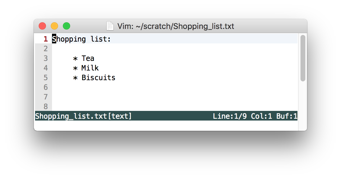 Shoppping list with no tabs