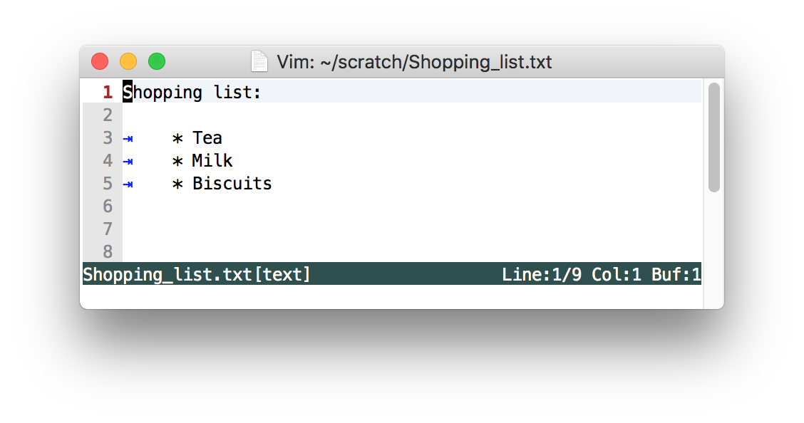 Shoppping list with tabs