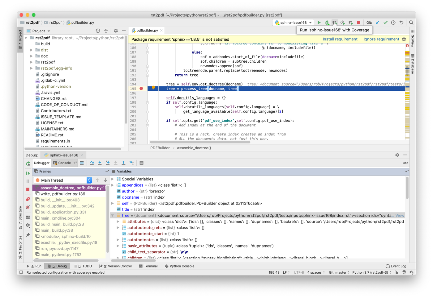 Step debugging sphinx-build in PyCharm – Rob Allen's DevNotes
