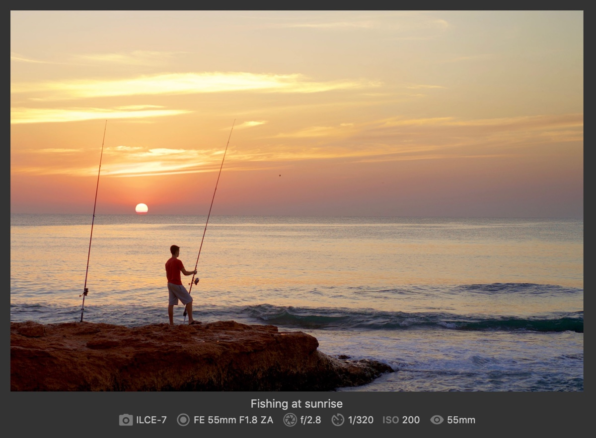 Picture of sunrise with caption and exif data displayed underneath