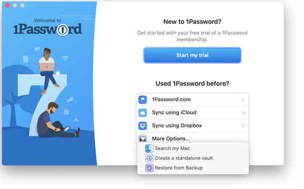 Screenshot of 1Password's welcome page