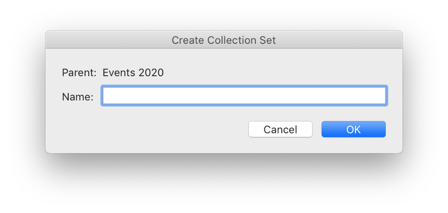 Create Collection Set Dialog Box