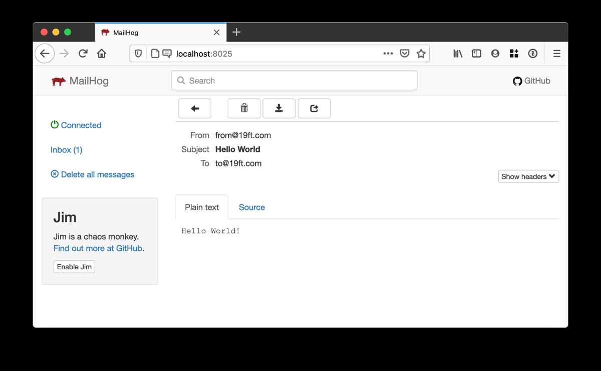 Screenshot of MailHog