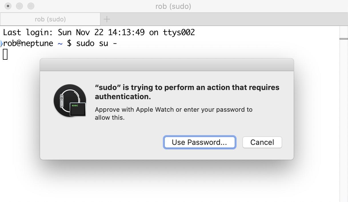 Apple Unlock dialog for sudo